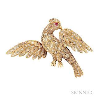 Gold and Diamond Bird Brooch