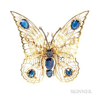 Gold, Sapphire, and Diamond Butterfly Brooch