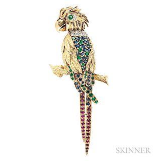 18kt Gold Gem-set Parrot Brooch