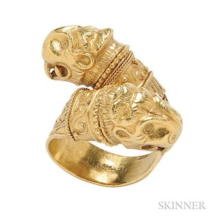 18kt Gold Bypass Ring, Lalaounis