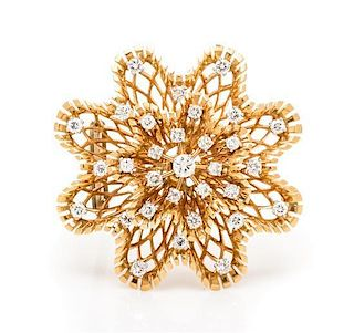 A 14 Karat Yellow Gold and Diamond Brooch, 12.50 dwts.
