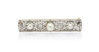 An Edwardian Platinum Topped Gold, Pearl and Diamond Bar Brooch, 8.10 dwts.