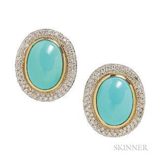 18kt Gold, Turquoise, and Diamond Earrings