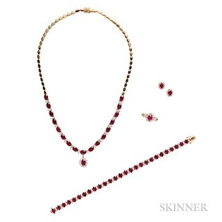 18kt Gold, Ruby, and Diamond Suite
