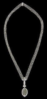 An Edwardian Platinum, Diamond, Opal and Seed Pearl Necklace, 22.60 dwts.