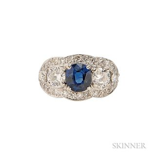 14kt White Gold, Sapphire, and Diamond Ring
