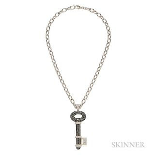 18kt Gold, Black Diamond, and Diamond Key Pendant and Chain, Theo Fennell
