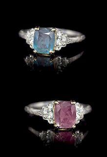 A Platinum, Gold, Russian Alexandrite and Diamond Ring, 2.60 dwts.