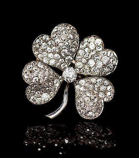 An Edwardian Platinum and Diamond Four Leaf Clover Pendant/Brooch, 5.00 dwts.
