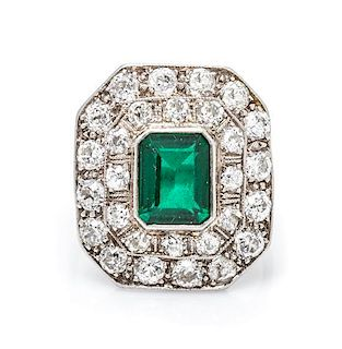 An Art Deco Platinum, Diamond and Simulated Emerald Ring, 3.70 dwts.