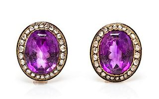 A Pair of Gold, Amethyst, Diamond and Enamel Earclips, 9.20 dwts.
