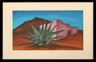 Desert Landscape, Southwest School signed Conde, ca. 1950