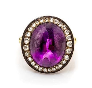 A Victorian Silver Topped Gold, Amethyst, Diamond and Enamel Ring, 6.30 dwts.