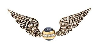 A Victorian Silver Topped Yellow Gold, Diamond and Sapphire Brooch, Circa 1890, 7.10 dwts.