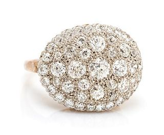 A Vintage Gold and Diamond Bombe Ring, 5.85 dwts.