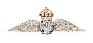 A Collection of Platinum Topped 14 Karat White Gold, Diamond and Polychrome Enamel R.A.F Regimental Brooch, 10.00 dwts.