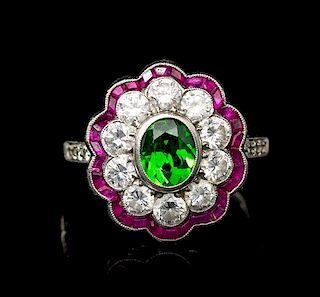 A Platinum, Russian Demantoid Garnet, Diamond and Ruby Ring, 4.30 dwts.