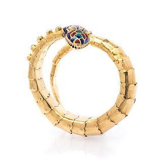 A Vintage Yellow Gold, Polychrome Enamel, Emerald, Opal and Diamond Serpent Bracelet, 24.70 dwts.