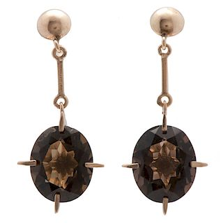 10 Karat Yellow Gold Smoky Quartz Earrings