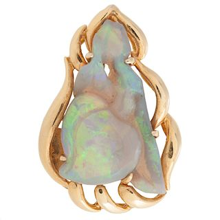 14 Karat Yellow Gold Carved Opal Pendant