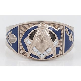 14 Karat White Gold Enamel Masonic Ring