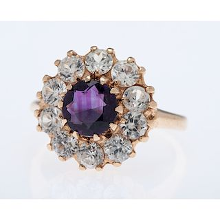14 Karat Yellow Gold Amethyst and White Topaz Ring