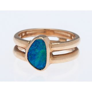 14 Karat Yellow Gold Double Band Opal Ring
