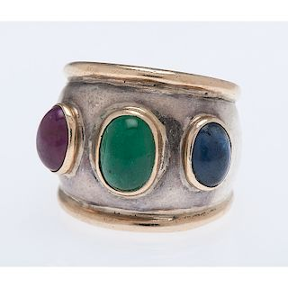 Sterling Silver and 14 Karat Yellow Gold Gemstone Ring