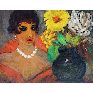 Attributed to: Emil Nolde, German (1867-1956) Oil on Panel, Woman with Flowers. Signed lower left.