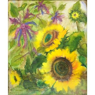 Emil Nolde, German (1867-1956) Watercolor, Sunflowers. Signed lower right.