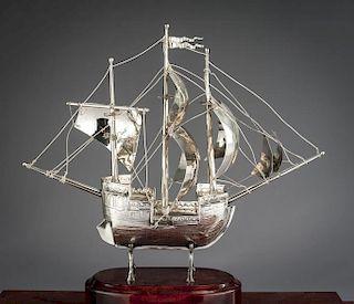 Silverplate Model Galleon in Case