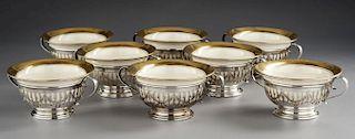 8 Pc Gorham Sterling and Lenox Cream Soup Set