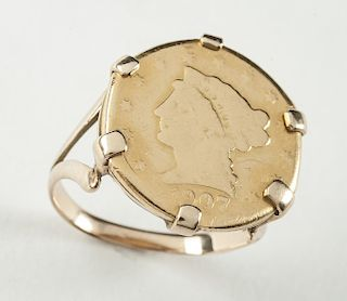 1907 $2.50 Liberty Head Gold Coin Ring