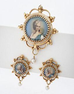 14K Portrait Pin/Pendant & Earrings