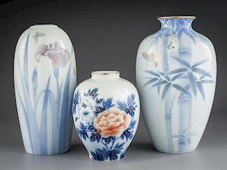 3 Fukagawa Vases