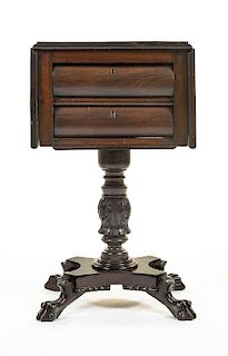American Empire Carved Sewing Table