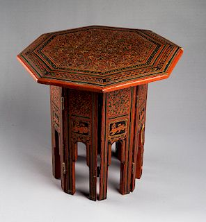 Persian Lacquered Wood Tabouret Table