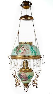 Hand Painted Victorian Hanging Parlor Lamp