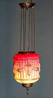 Victorian Pink Satin Glass Blown Out Lamp