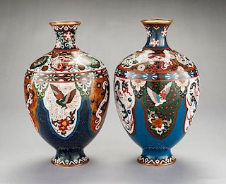 Pair of Chinese Cloisonne Dragon & Phoenix Vases