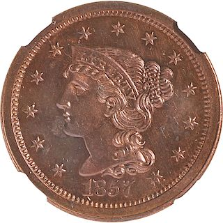 U.S. 1857 PROOF LARGE 1C COIN