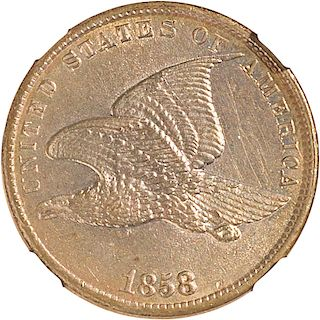 U.S. 1858 SMALL LETTERS FLYING EAGLE 1C COIN