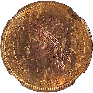 U.S. 1864 L BRONZE INDIAN HEAD 1C COIN