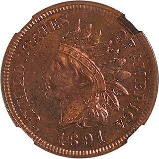 U.S. 1891 PROOF INDIAN HEAD 1C COIN