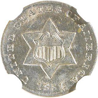 U.S. 1851 SILVER 3C COIN