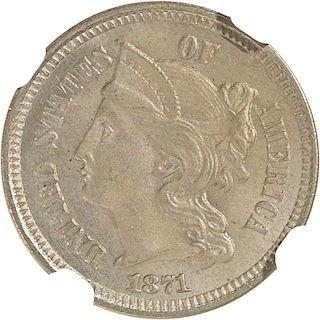 U.S. 1871 NICKEL 3C COIN
