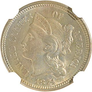 U.S. 1874 NICKEL 3C COIN