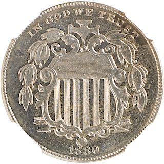 U.S. 1880 PROOF SHIELD 5C COIN