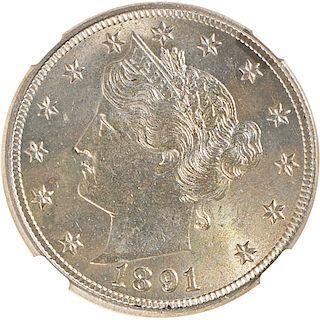U.S. 1891 LIBERTY 5C COIN