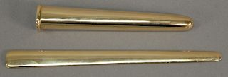Tiffany & Co. 14 karat gold letter opener with holder (holder missing a part). length 5 1/2 inches, total weight 61.6 grams.   P...